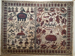 Very Large Hand Painted Tapa Cloth From Oceania ( Wallis, The Society Islands ).