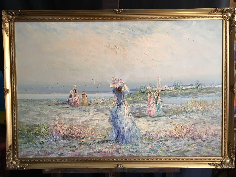 Very Large Impressionist Oil Painting of a Lady in Blue - Gray Figurative Painting by Unknown