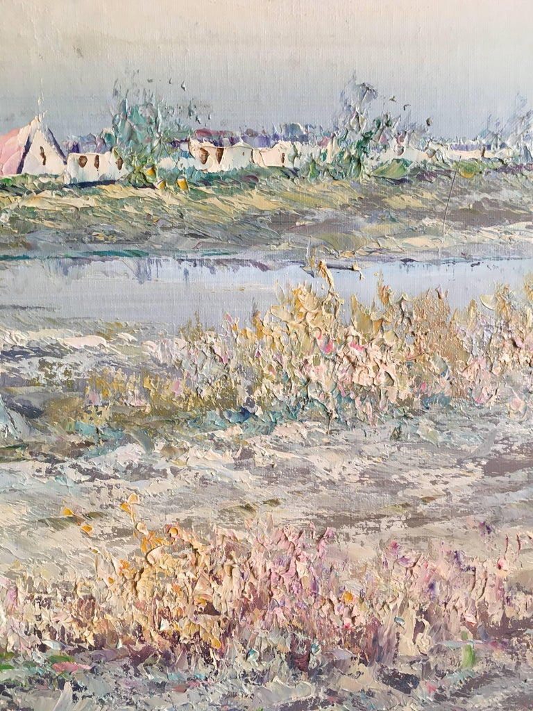 Very Large Impressionist Oil Painting of a Lady in Blue French School, 20th Century Oil painting on canvas, framed Frame size: 27 x 39 inches  Wonderful observation of women dressed formally in their summer attire as they walk over the dunes before
