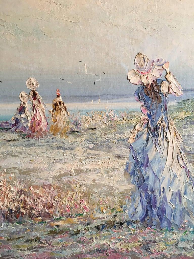 Very Large Impressionist Oil Painting of a Lady in Blue For Sale 1