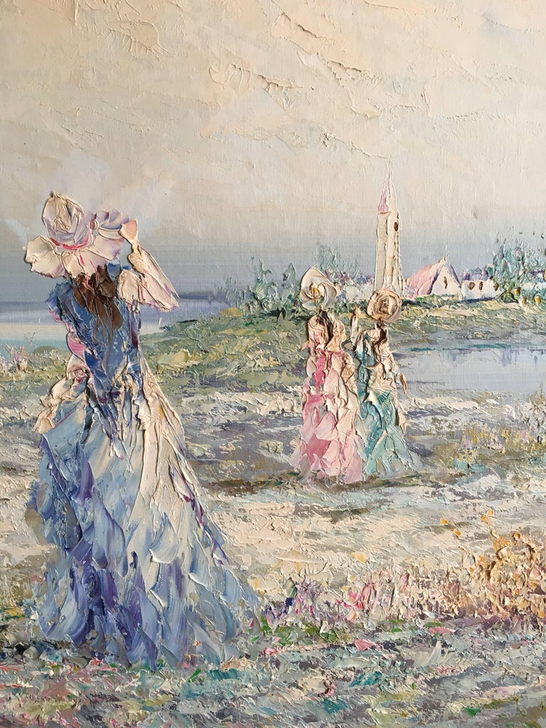 Very Large Impressionist Oil Painting of a Lady in Blue For Sale 2