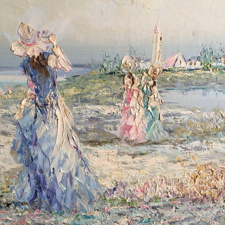 Very Large Impressionist Oil Painting of a Lady in Blue For Sale 5