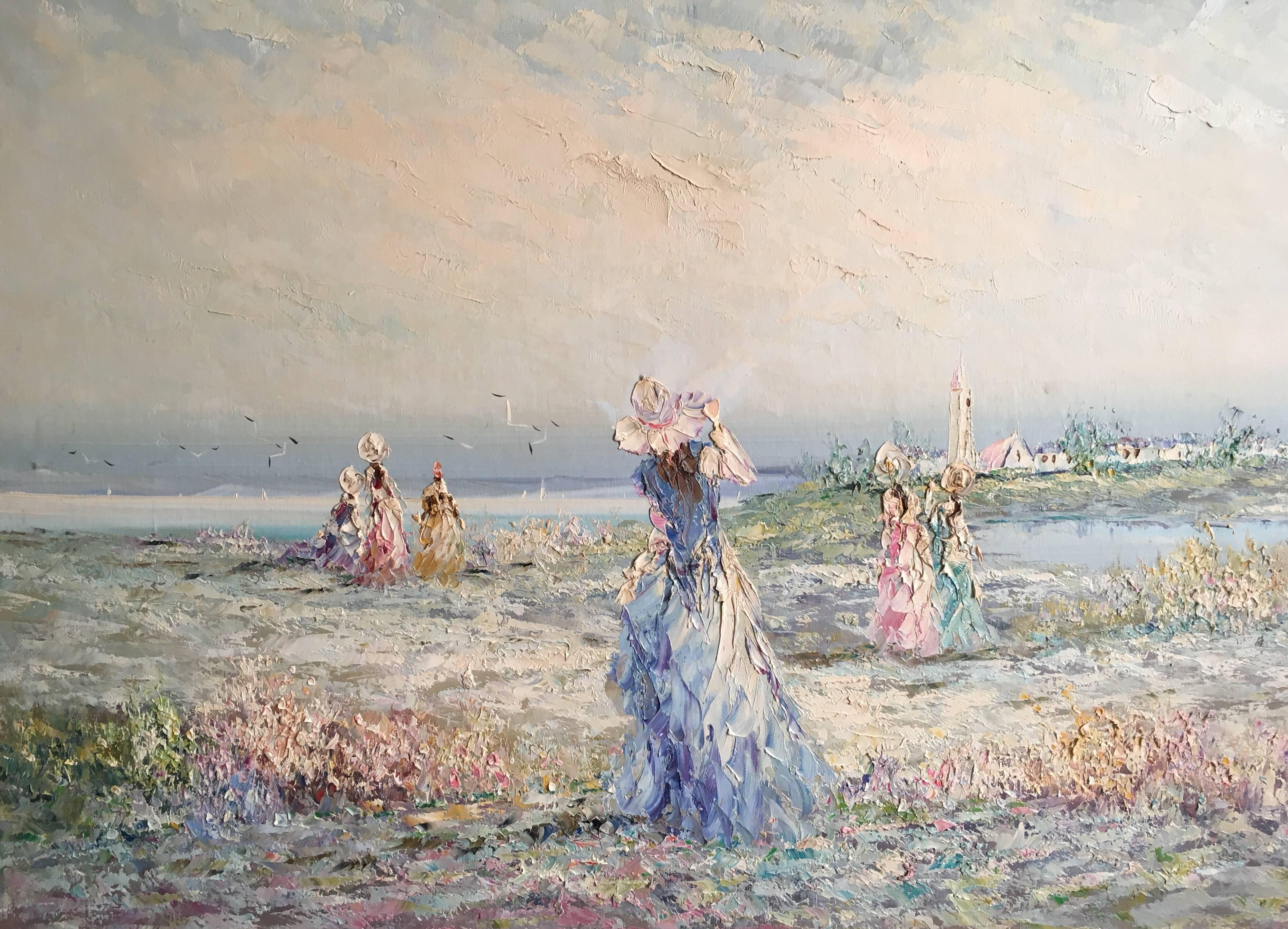 Very Large Impressionist Oil Painting of a Lady in Blue