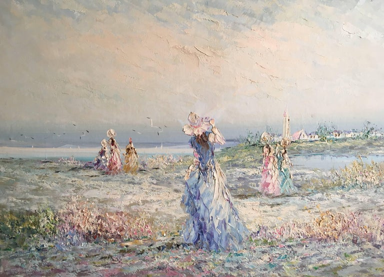 Unknown Figurative Painting - Very Large Impressionist Oil Painting of a Lady in Blue