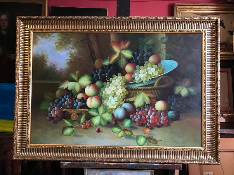 Very Large Ornamental Still Life Fruit Oil Painting - Black Interior Painting by Unknown