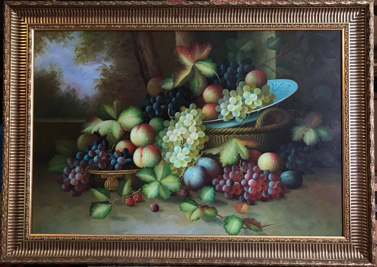 Continental School, late 20th century oil painting on canvas, framed framed size: 30 x 42 inches  Beautiful large scale still life oil painting on canvas, depicting this classical and ornamental arrangement of fruit. The work is very much in the
