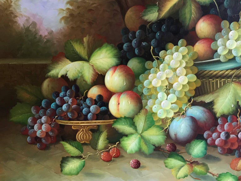 Very Large Ornamental Still Life Fruit Oil Painting For Sale 1