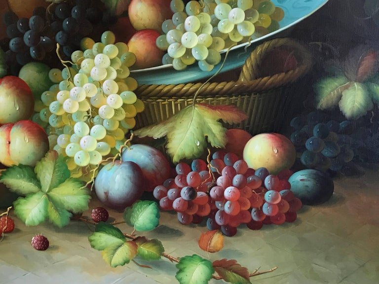 Very Large Ornamental Still Life Fruit Oil Painting For Sale 2