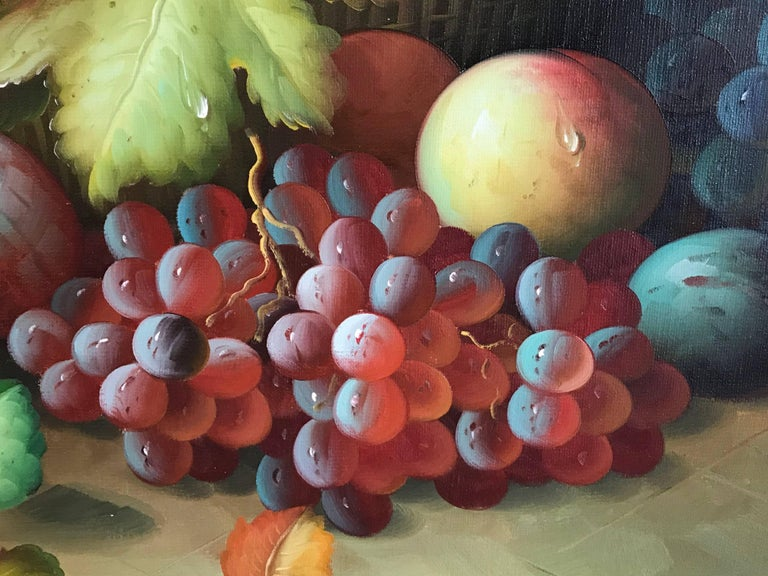 Very Large Ornamental Still Life Fruit Oil Painting For Sale 3