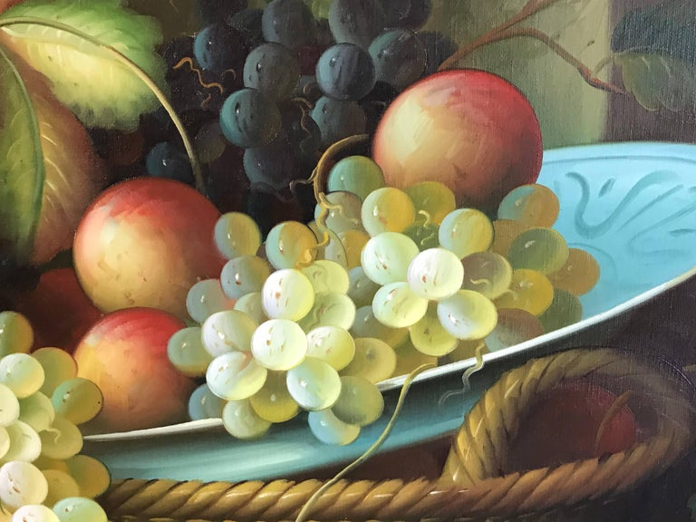 Very Large Ornamental Still Life Fruit Oil Painting For Sale 4
