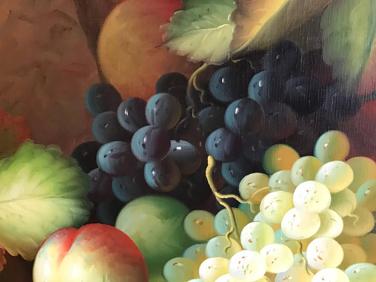 Very Large Ornamental Still Life Fruit Oil Painting For Sale 5