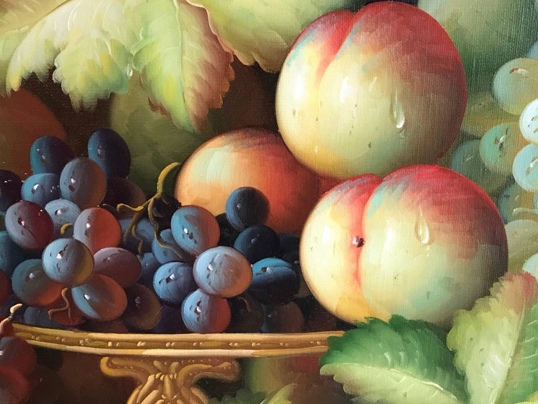 Very Large Ornamental Still Life Fruit Oil Painting For Sale 6