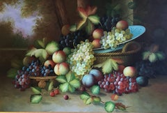 Very Large Ornamental Still Life Fruit Oil Painting