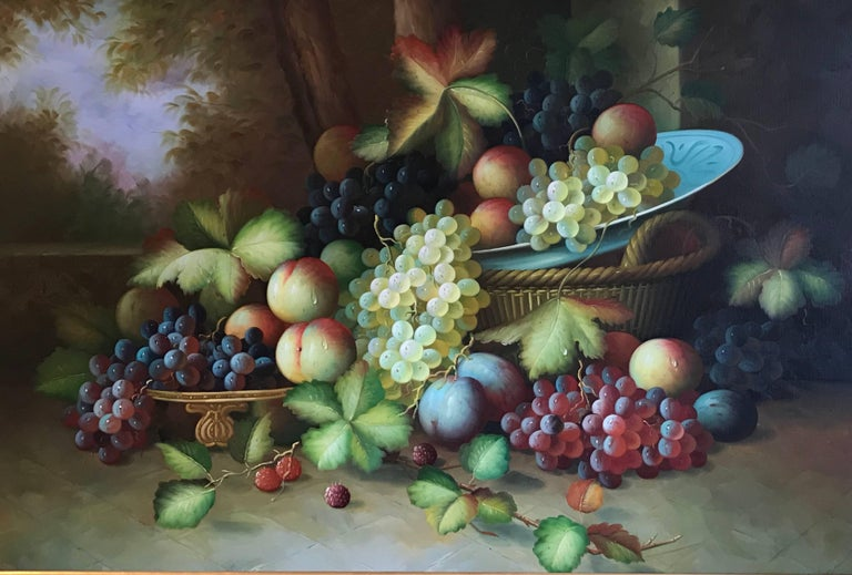 Unknown Interior Painting - Very Large Ornamental Still Life Fruit Oil Painting