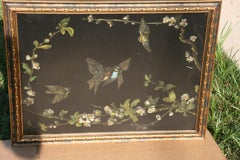 Victorian Birds and Flowers Oil Painting on Metal Panel circa 1890's