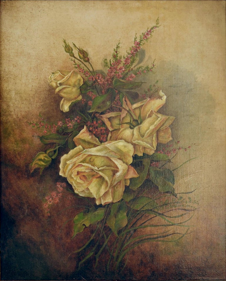 Victorian Yellow Rose & Heather Floral Still Life  - Painting by Unknown