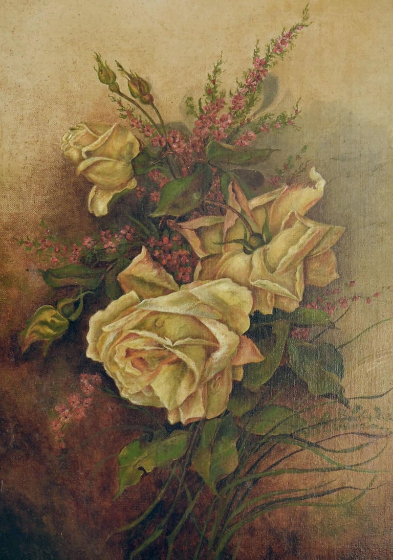 Victorian Yellow Rose & Heather Floral Still Life  - American Impressionist Painting by Unknown