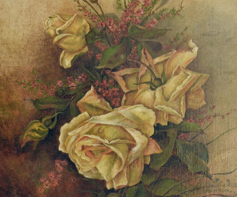 Victorian floral still-life of yellow roses and heather in warm tones by unknown American artist. Monogram lower left corner illegible. Presented in an ornately carved period giltwood frame. Image size, 18