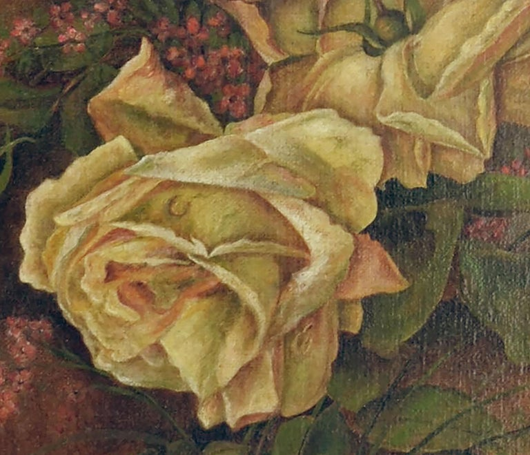 Victorian Yellow Rose & Heather Floral Still Life  For Sale 1