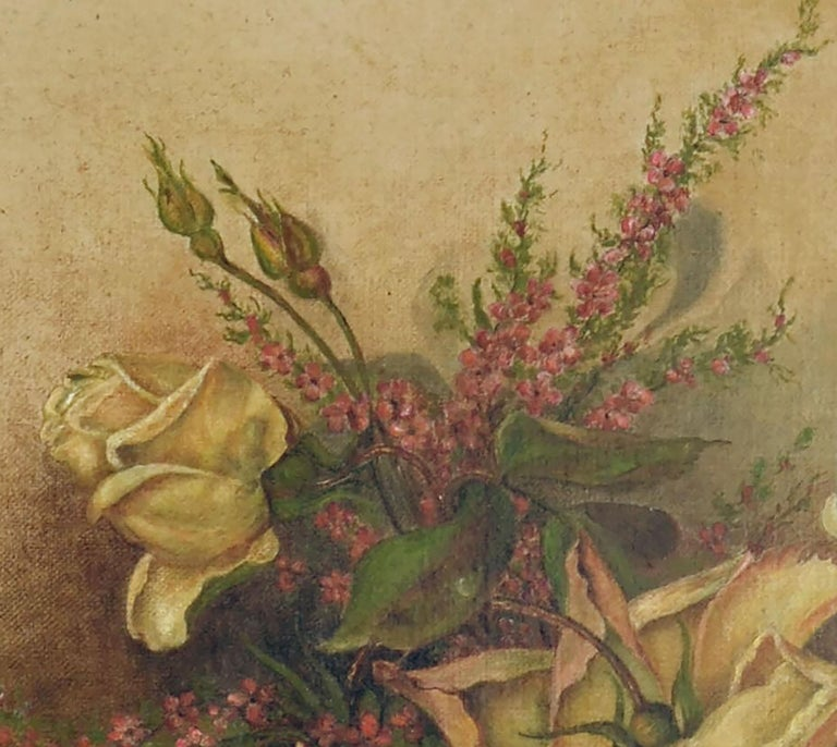 Victorian Yellow Rose & Heather Floral Still Life  For Sale 2