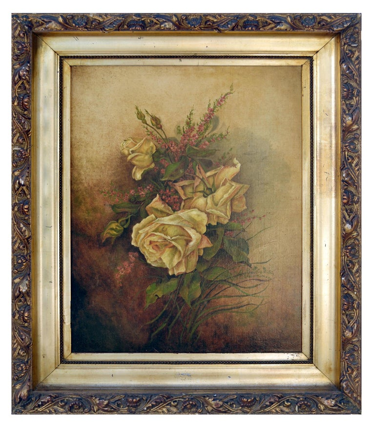 Unknown Still-Life Painting - Victorian Yellow Rose & Heather Floral Still Life