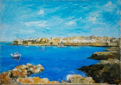 View of Gallipoli - Original Oil on Canvas - Late 20th Century