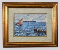 View of Capri Island - Original  Oil Painting on Cardboard - Mid-20th Century