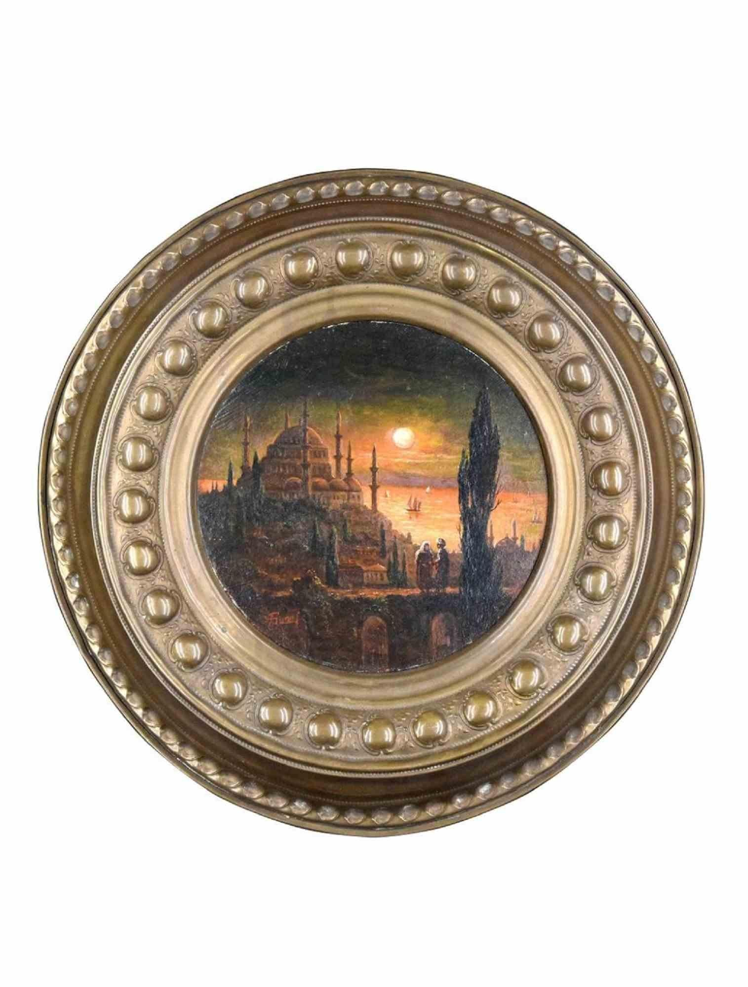 View of Constantinople - Original Oil Paint - Late 19th Century