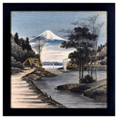 View of Mount Fuji - Oil Paint on Canvas by Unknown Japanese Master Early 1900