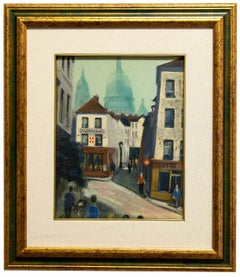 View of Paris - Original Oil on Cardboard by French Artist - Mid-20th Century