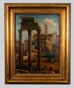 View of the Roman Forum - Original Oil Painting - Early 20th Century