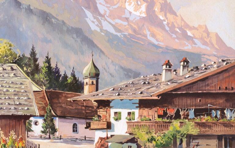Village in the Ural Mountains - Mid Century Landscape - Beige Landscape Art by Unknown