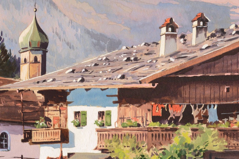 Detailed and vibrant mountain village landscape by an unknown artist. Signed (