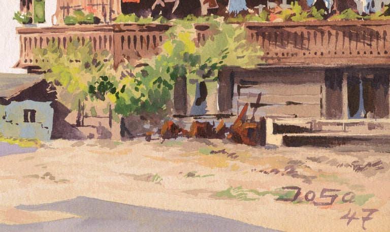 Village in the Ural Mountains - Mid Century Landscape For Sale 1