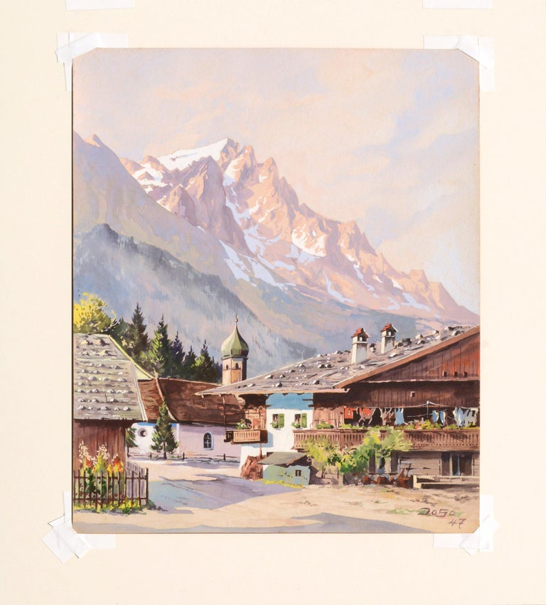 Village in the Ural Mountains - Mid Century Landscape For Sale 2