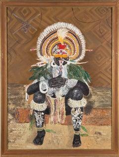 Vilma Turner - Signed & Framed 1972 Oil, The Man from Cheragum Village