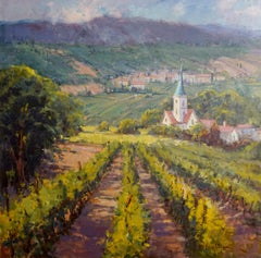 Vineyard in Provence, Plein Air Landscape Original Fine Art Oil on Linen Canvas