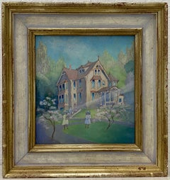 Vintage 1930s Oil Painting of a Family in Front of A Victorian Home