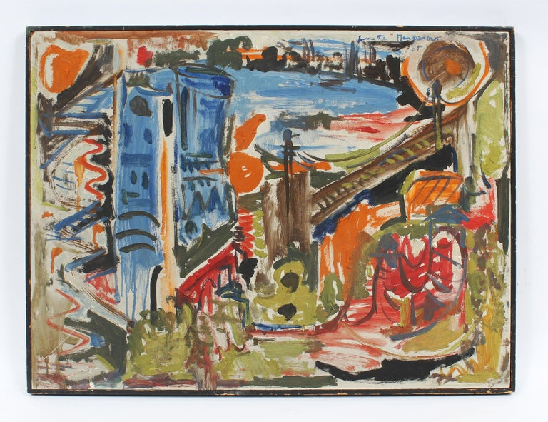 Vintage Abstract Expressionist New York City School Brooklyn Bridge Oil Painting - Brown Abstract Painting by Unknown