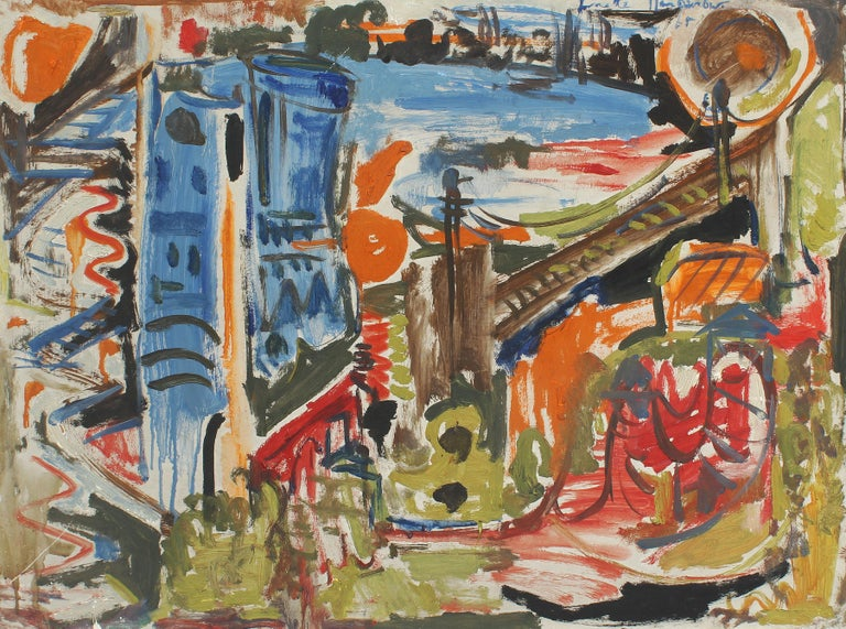 Vintage American school abstract expressionist cityscape painting.  Oil on board, circa 1968. Signed.  Displayed in a period frame.  Image, 24.5