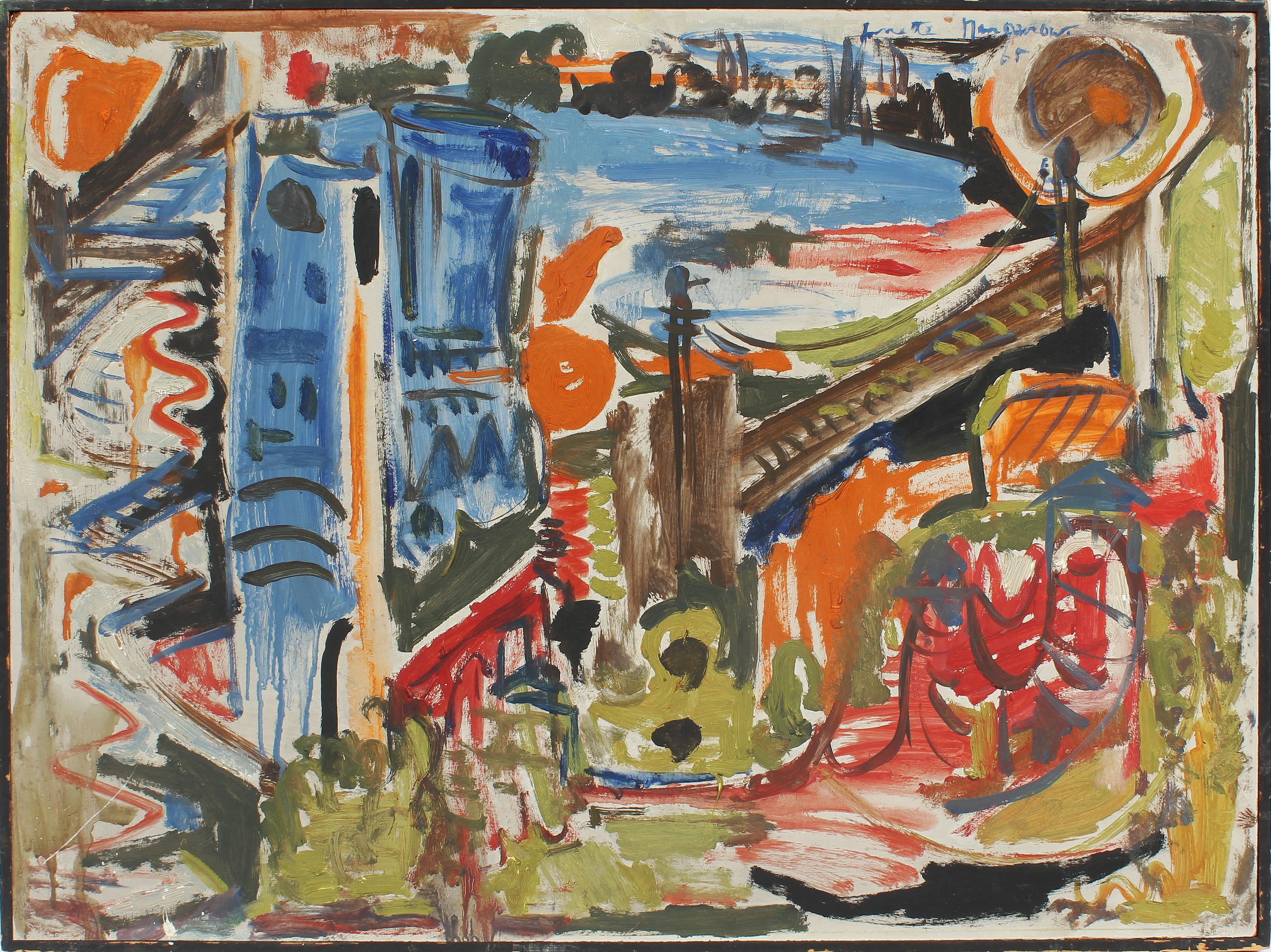 Vintage Abstract Expressionist New York City School Brooklyn Bridge Oil Painting