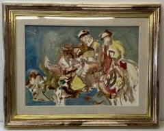 Vintage Abstract Figures on Horseback Original Oil Painting C.1983