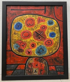 Vintage Abstract in Red Original Oil Painting