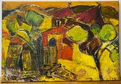 Vintage Abstract Village Scene Oil Painting 20th Century