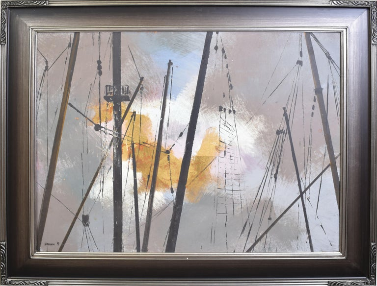 Vintage Abstracted Sky Study Oil Painting with Ship Masts by Steffen 1967 2