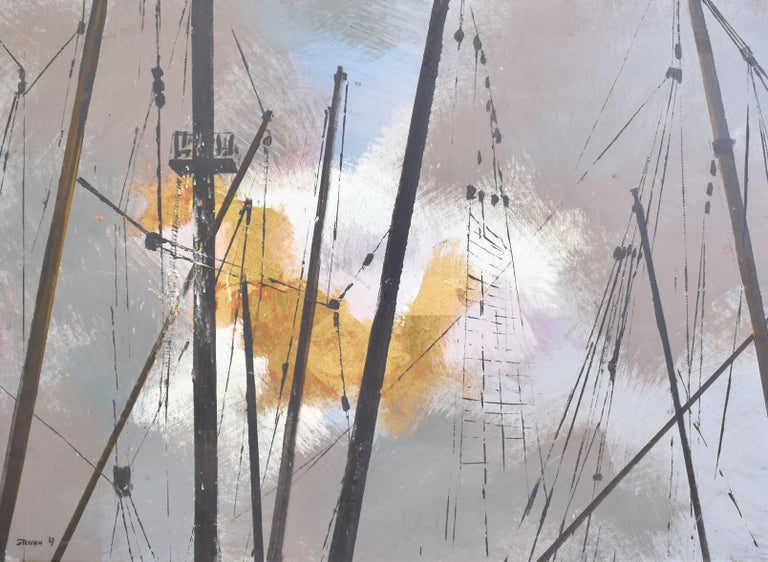 Vintage Abstracted Sky Study Oil Painting with Ship Masts by Steffen 1967 3