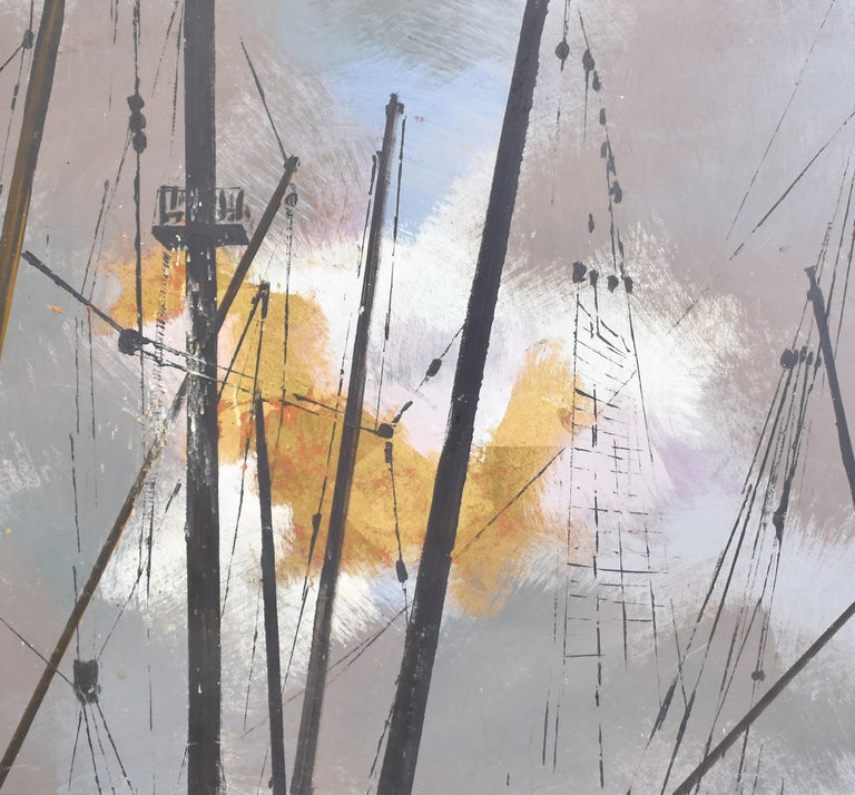 Vintage Abstracted Sky Study Oil Painting with Ship Masts by Steffen 1967 4