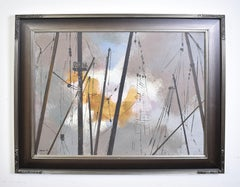 Vintage Abstracted Sky Study Oil Painting with Ship Masts by Steffen 1967