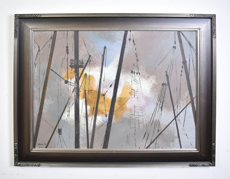 Vintage Abstracted Sky Study Oil Painting with Ship Masts by Steffen 1967 1