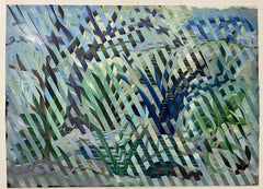 Vintage Acrylic Geometric Tropical Optical Landscape On Celluloid c.1989